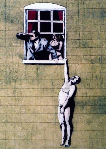 BANKSY - BUSTED - NAKED MAN WINDOW canvas print - self adhesive poster - photo print